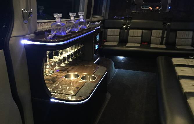 Sprinter limo bar interior 2